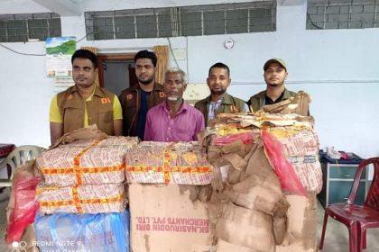 জাফলংয়ে অভিযান চালিয়ে ৯৩ কার্টন ভারতীয় বিস্কুট-চকলেট উদ্ধার করেছে ডিবি